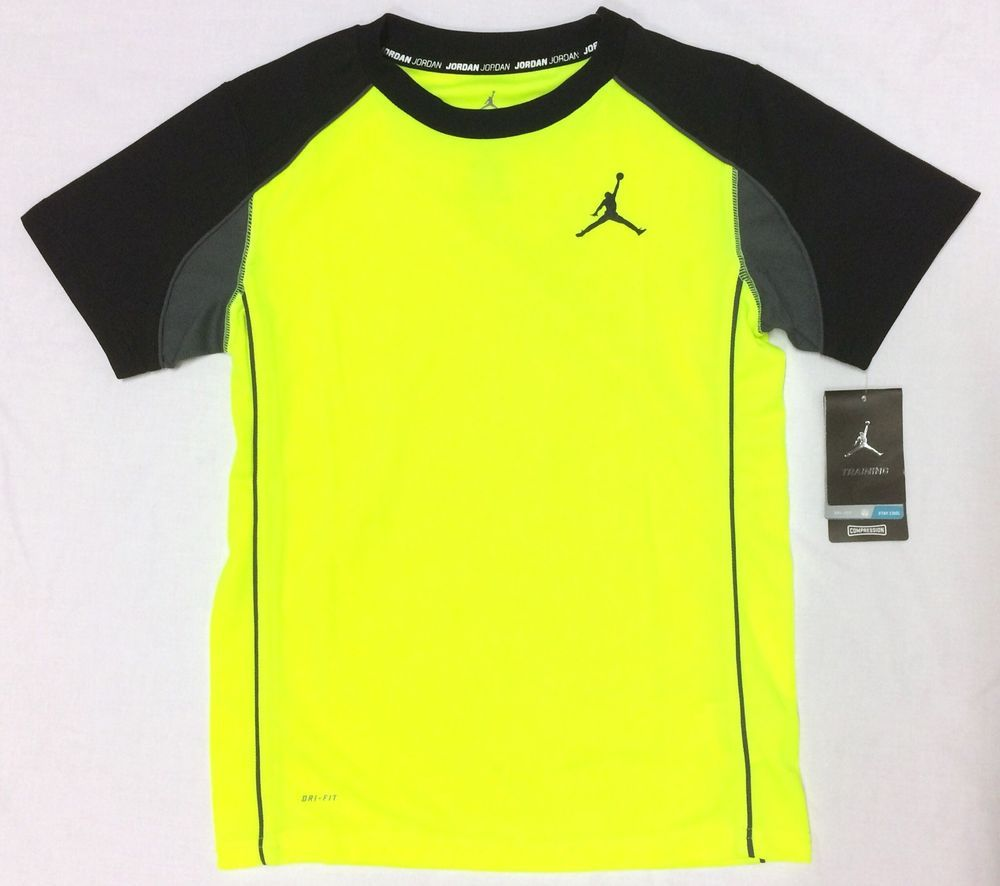 a67912c18bc96 NEW Boys Nike AIr Jordan DRI-FIT Shirt Large Medium Volt Yellow ...