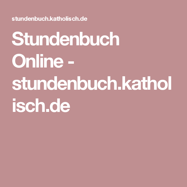 Stundenbuch Katholisch.De