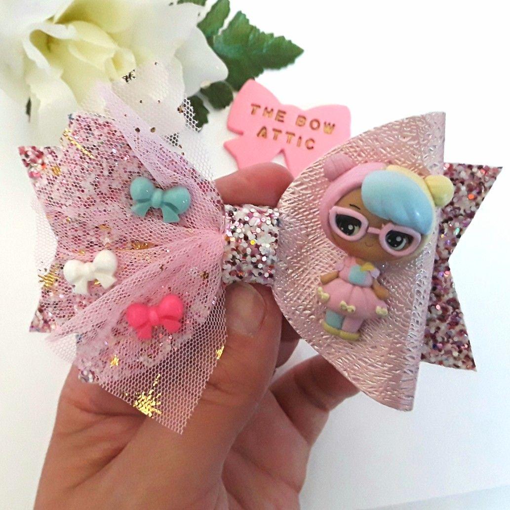 Girls Pink Lol Sparkly Hair Bow Handmade Medium