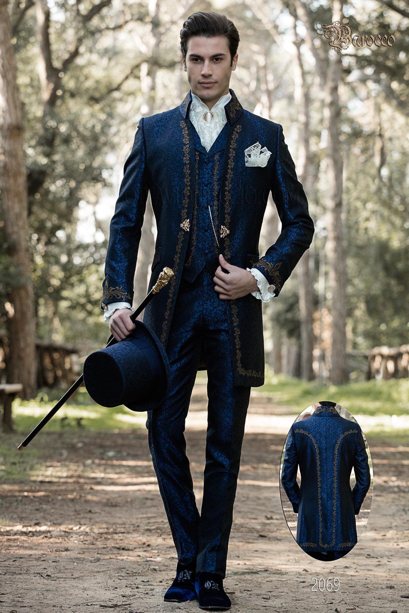 Hipster Matrimonio Uomo : Vestito sposo stile barocco damascato blu con ricami oro. completo
