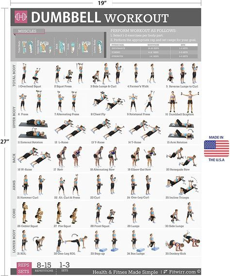 Amazon dumbbell exercises workout poster now laminated strength training chart home gym weight lifting routine plans for women also rh pinterest