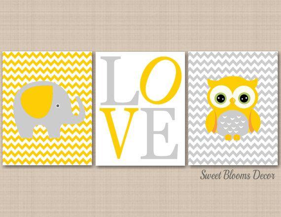 Neutral Nursery Wall Art,Owl Elephant Wall Art,Yellow Gray Nursery ...
