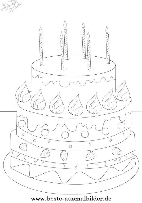 Ausmalbild Geburtstagstorte  Happy Birthsday coloring