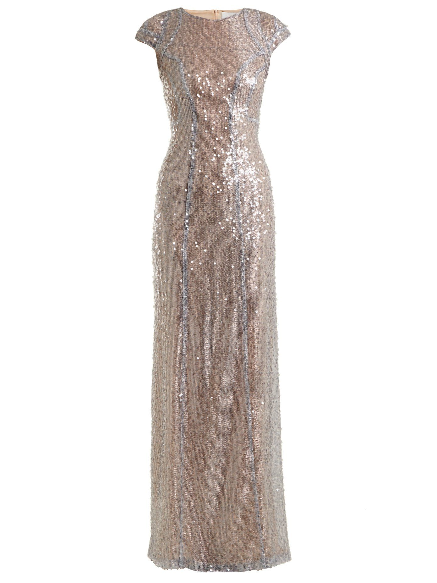 Galvan Estrella cap-sleeved sequin-embellished gown | Dresses ...