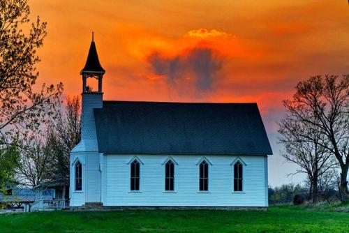 White Church Sunset Kansas By Rural Shooter