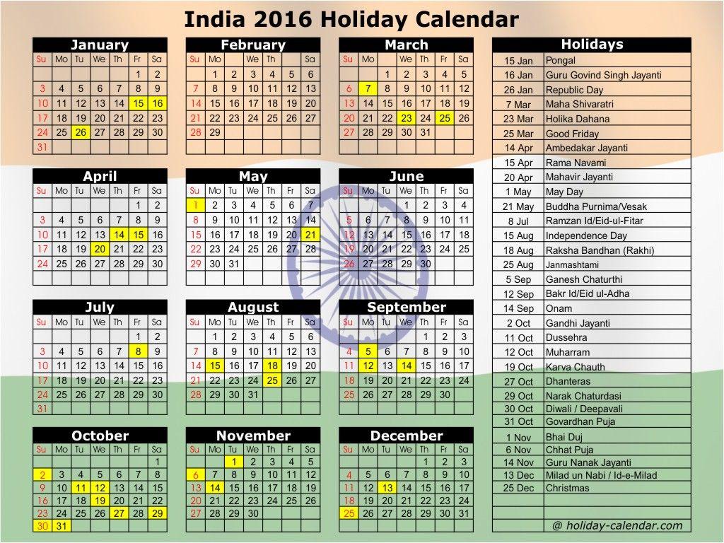 2016 September Calendar India Holiday Calendar November