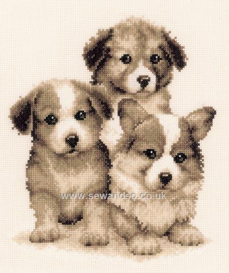 Buy+Puppy+Friends+Cross+Stitch+Kit+Online+at+www.sewandso.co.uk