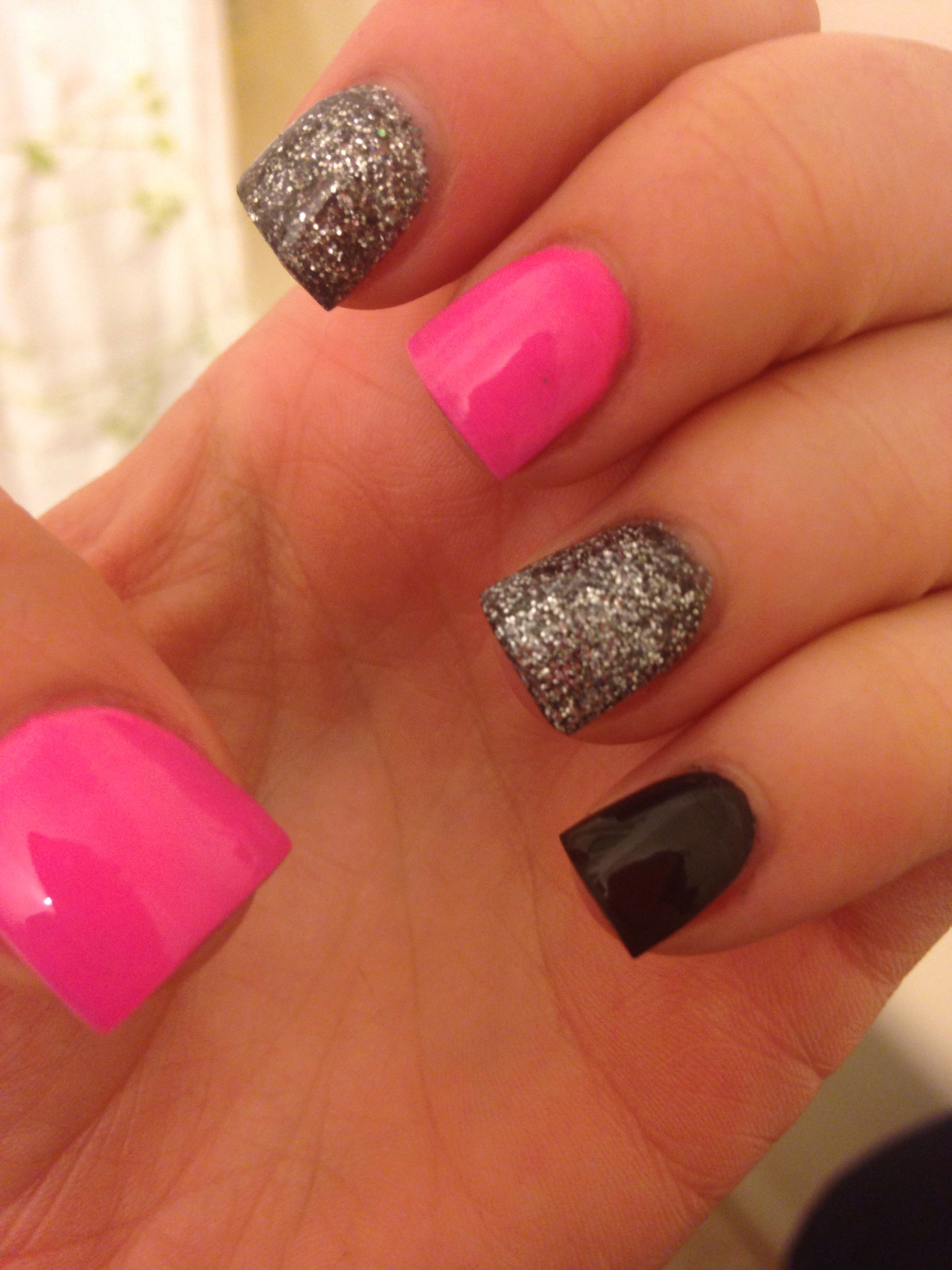 Pink and black nails | Nails and Hair | Pinterest | Black ...