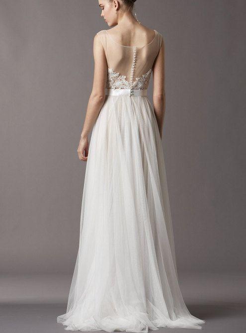 Ivory sheer lace wedding dress destination wedding by Laurelmary, $199.99