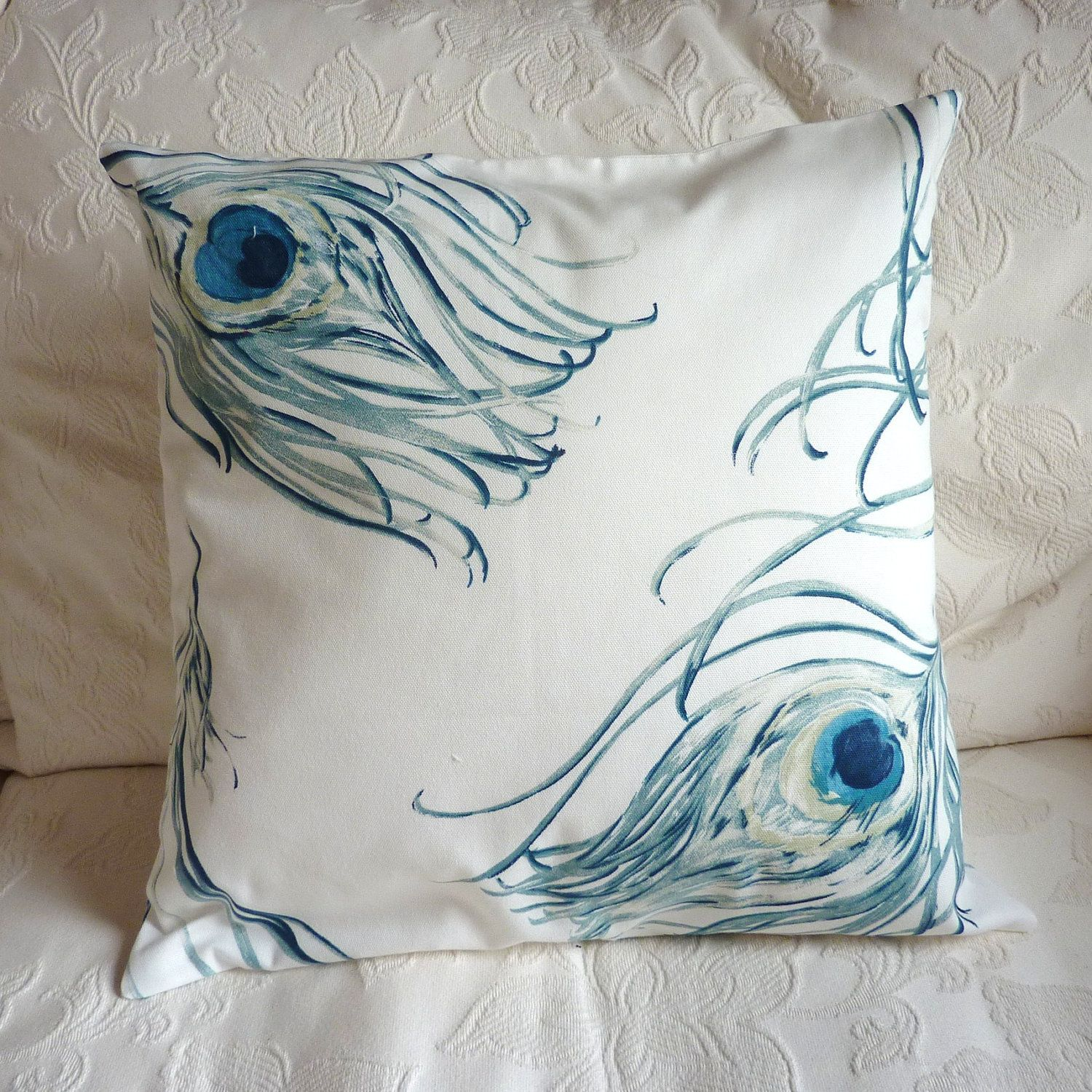 Peacock Pillow Throw Cushion, Turquoise With Cream Background, 18 1600,