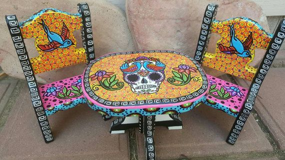 Items Similar To Sugar Skull, Mini Wood Table And Chairs, Sugar Skull Doll,  Day Of The Dead, Dia De Los Muertos, Mini Furniture, Sugar Skull Furniture  On ...