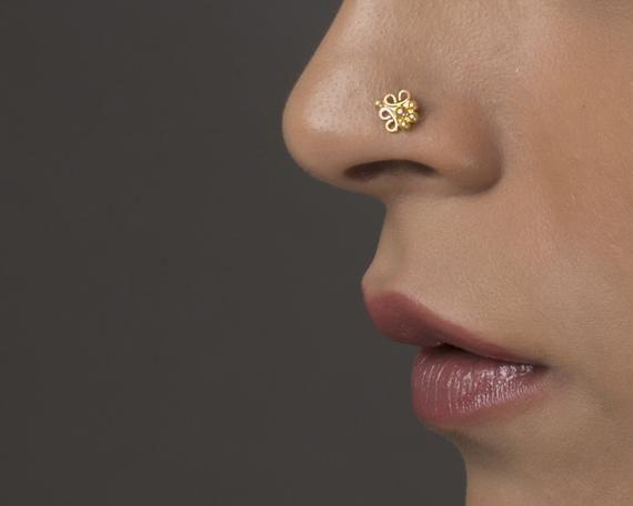 Bohemian Tribal Blue Lab Opal Flower Nose Bone Ball Straight Stud 20g