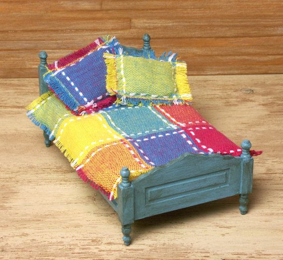 Colorful Miniature Bedspread with Pillows for Your by DinkyWorld