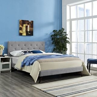Shop for Terisa Light Grey Fabric Upholstered Platform Bed with Round Splayed Legs. Get free delivery at Overstock.com - Your Online Furniture Outlet Store! Get 5% in rewards with Club O!