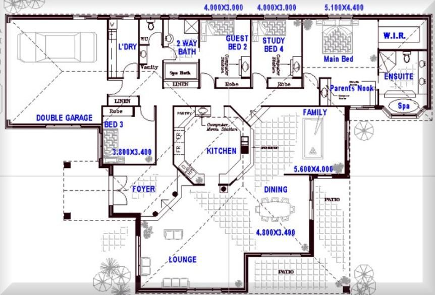 One story open floor plans with 4 bedrooms australian for Open modern floor plans