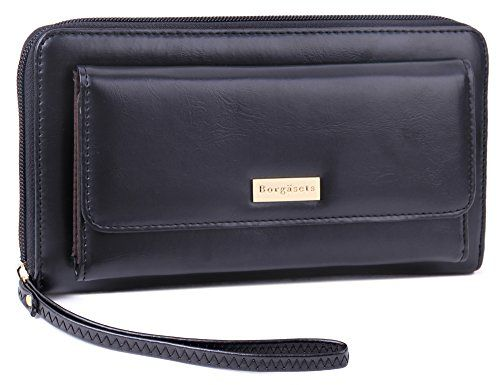 d88d9e47309c Borgasets Womens Urban Organizer Large Clutch Ziparound Wallet with ...