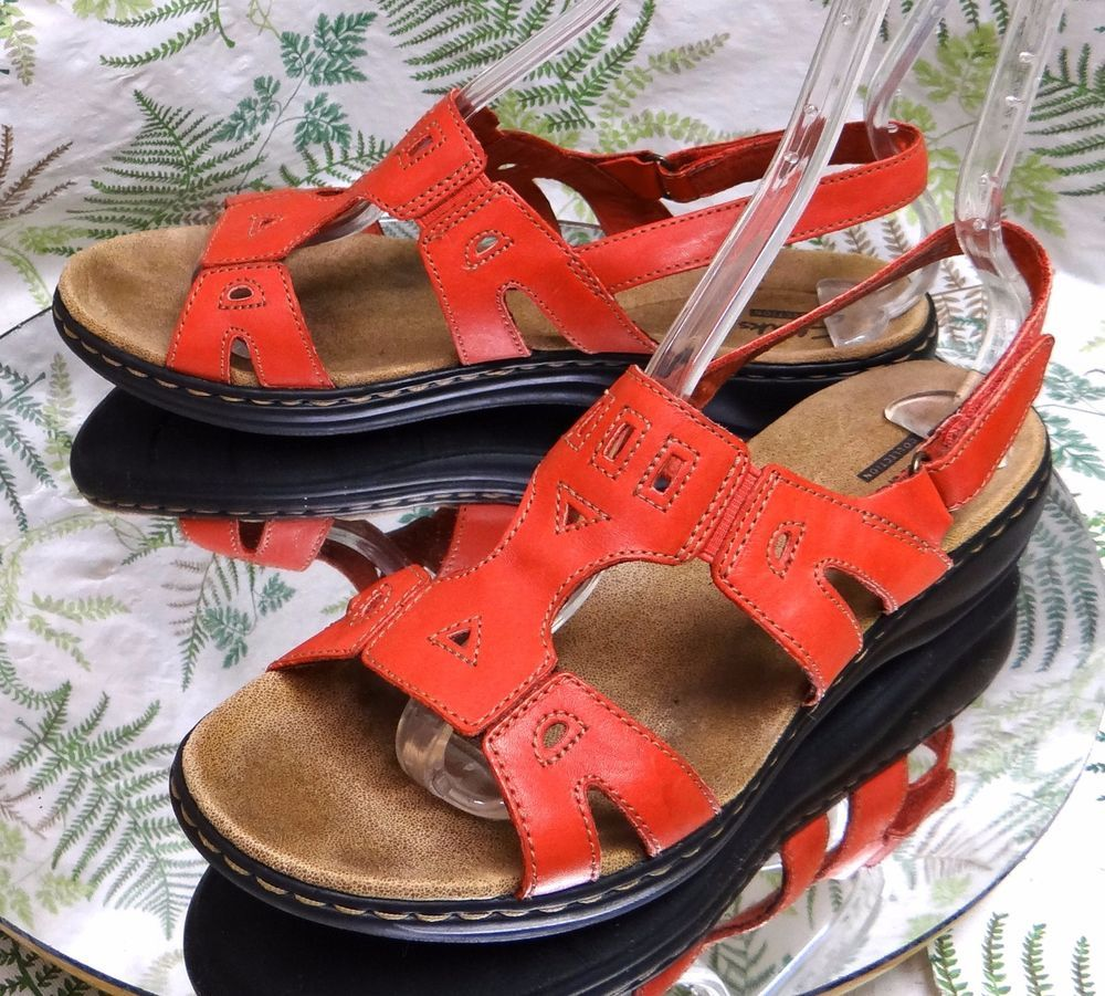 93c74563b5b CLARKS RED LEATHER SPORT SANDALS SLINGBACK STRAPS COMFORT SHOES WOMENS SZ  9.5 W  Clarks  Walking