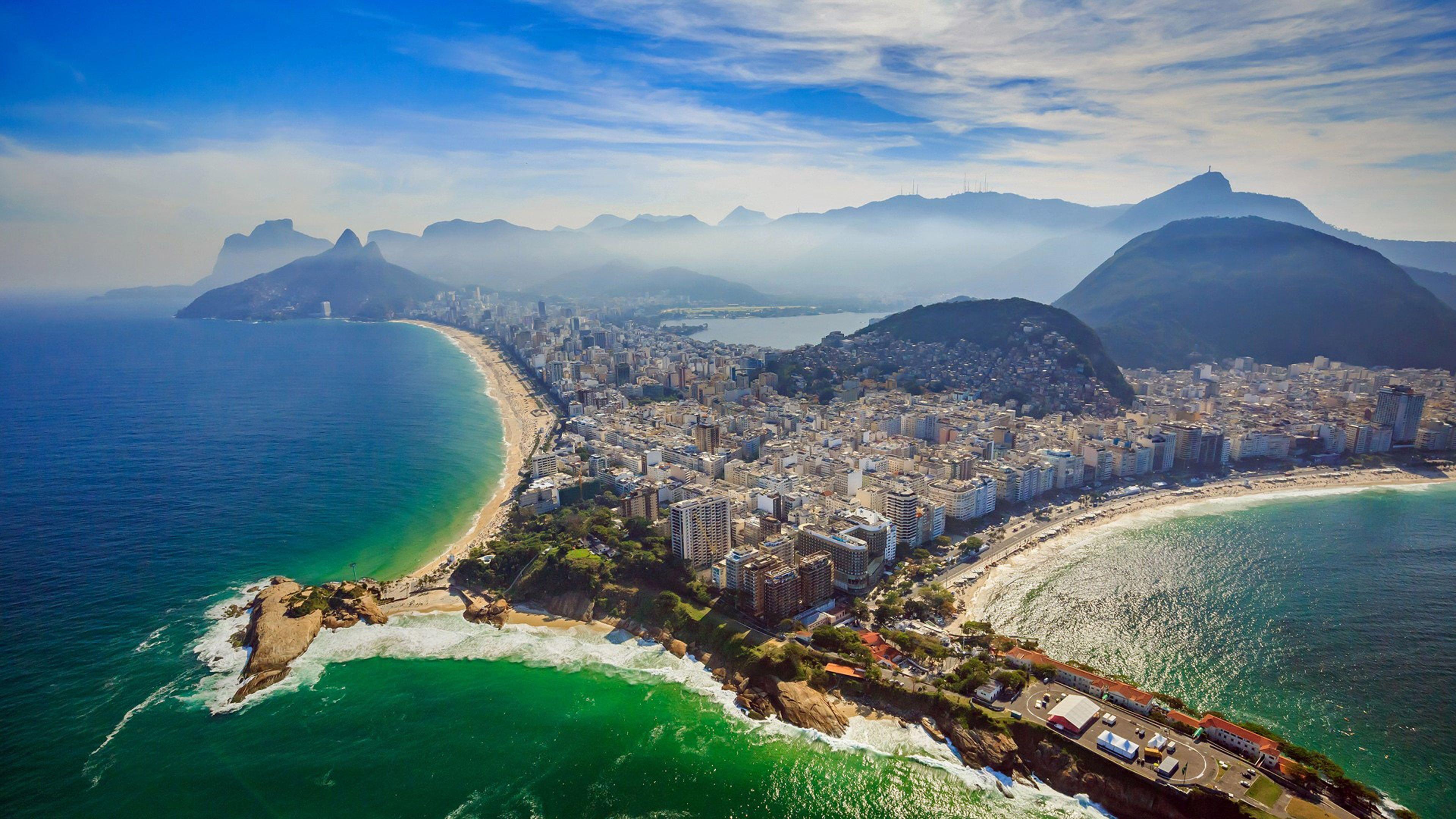 Rio De Janeiro Copacabana Beach And Ipanema Beach Aerial View