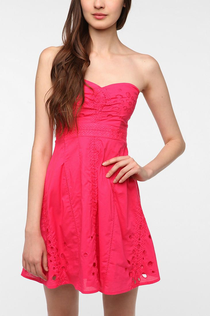 UrbanOutfitters.com > Pins and Needles Cotton Eyelet Strapless Dress