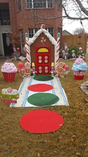 My gingerbread house, giant candy and cupcake decorations.