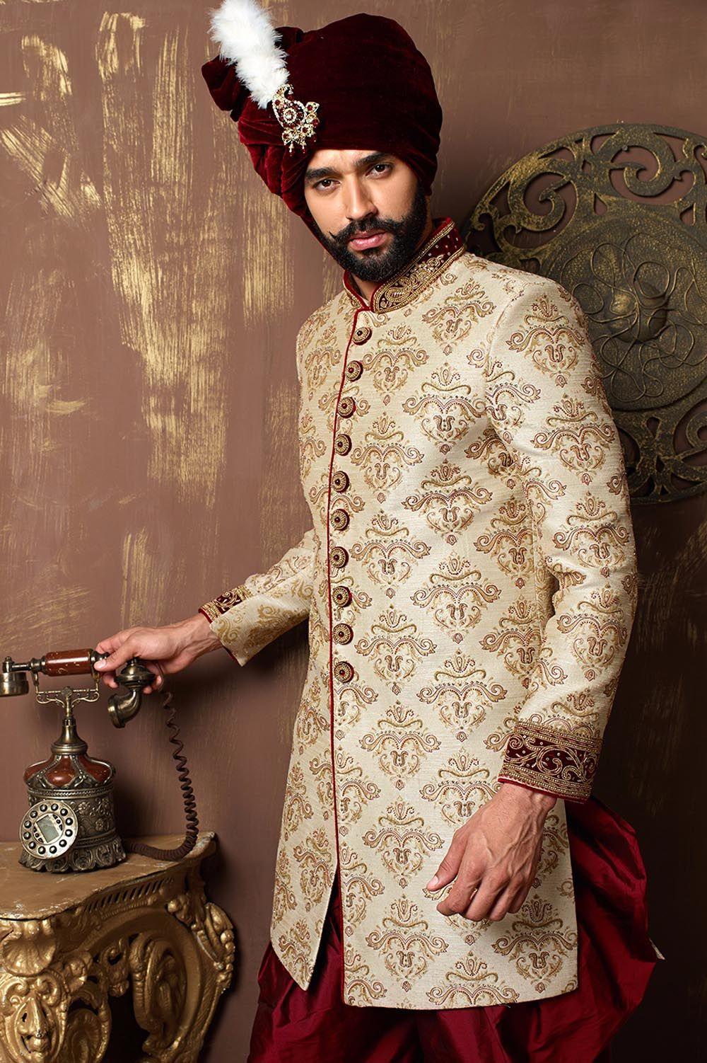 Zardozi and stone work indo western sherwani designer exclusive