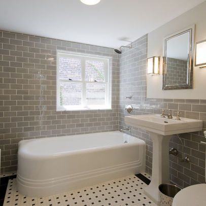 Traditional Bath White Tiled Walls Design Ideas Pictures Remodel