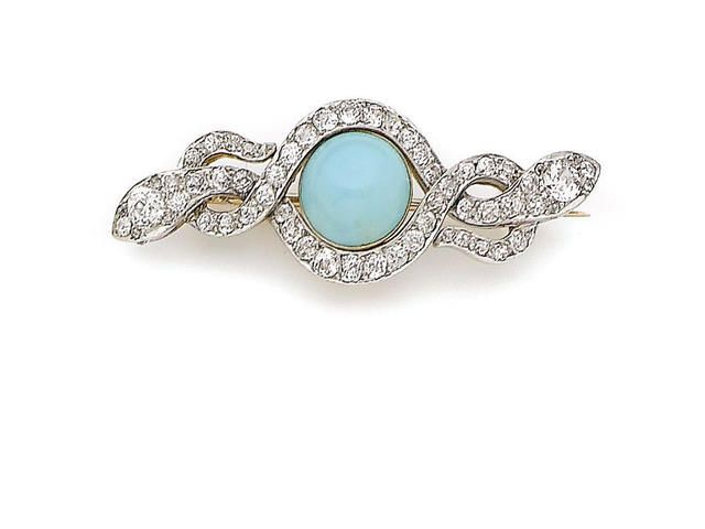 A LATE 19TH CENTURY TURQUOISE AND DIAMOND BROOCH