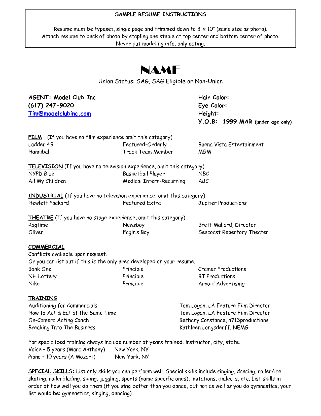 resume for child actor