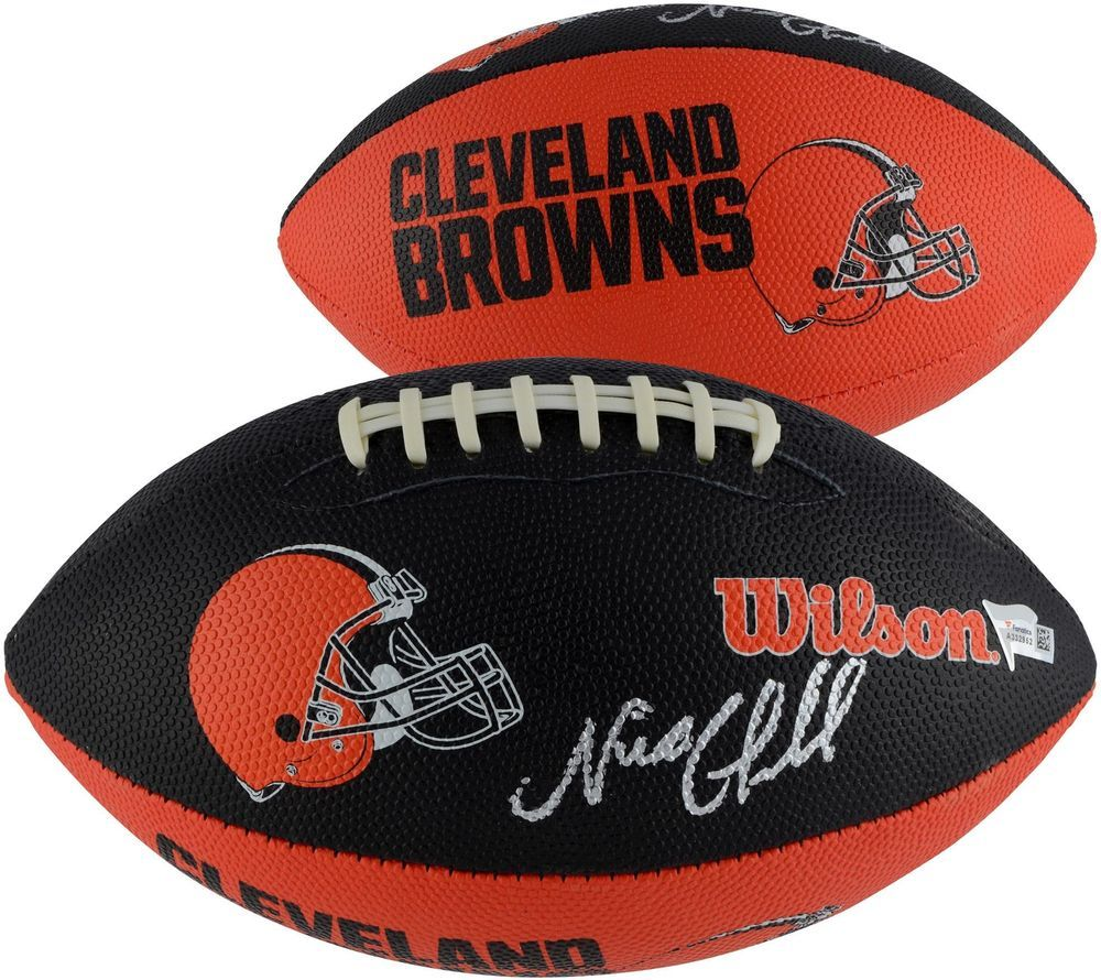 03caf8203 Nick Chubb Cleveland Browns Autographed Wilson Junior Size Team Logo  Football