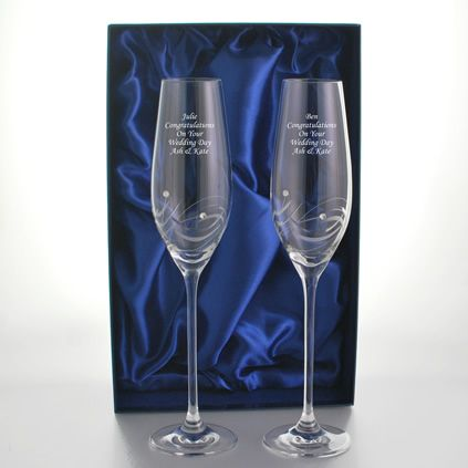 b191cbe753f Engraved Champagne Flutes With Beautiful Swarovski Crystals | Things ...