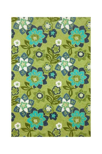 Scattered Flowers Indoor/Outdoor Rug   Green By Liora Manne Rugs On