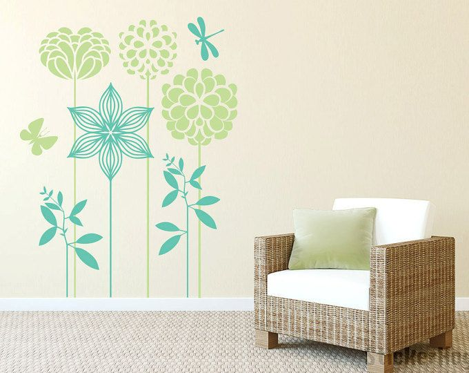 Dekorative Blumen Wall Decals Grafik Vinyl Aufkleber Schlafzimmer