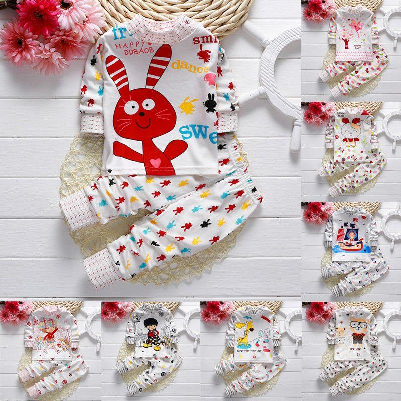 Ragazze Dei Neonati Del Fumetto Pajamas Set Biancheria Da Notte Capitano Giraffe Coniglio stampa Pigiama Manica Lunga T shirt + Pants Capretti Degli Indumenti Da Notte 21