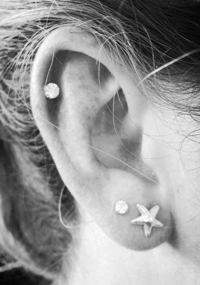 Second hole and cartilage ear piercing- Beach themed – #beach #cartilage #Ear #h…