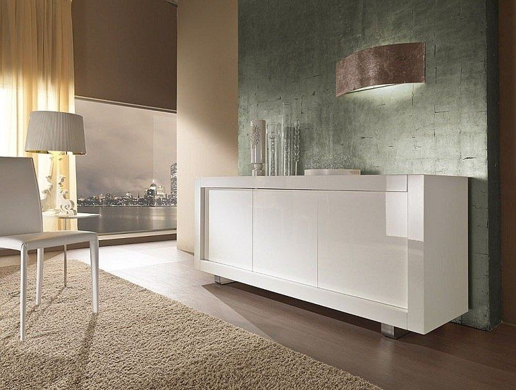sideboard mit edelstahl f en und schiebet ren in wei. Black Bedroom Furniture Sets. Home Design Ideas