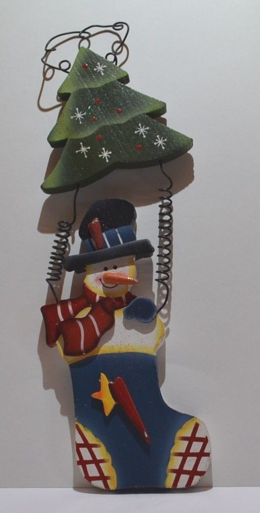Snowman and Christmas Tree Wall Hanging or Christmas Ornament