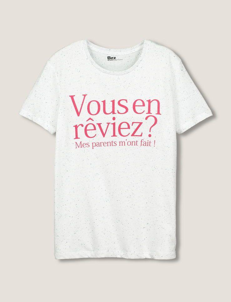 8786139bc2c41 T-shirt manches courtes. Col rond. Top avec message