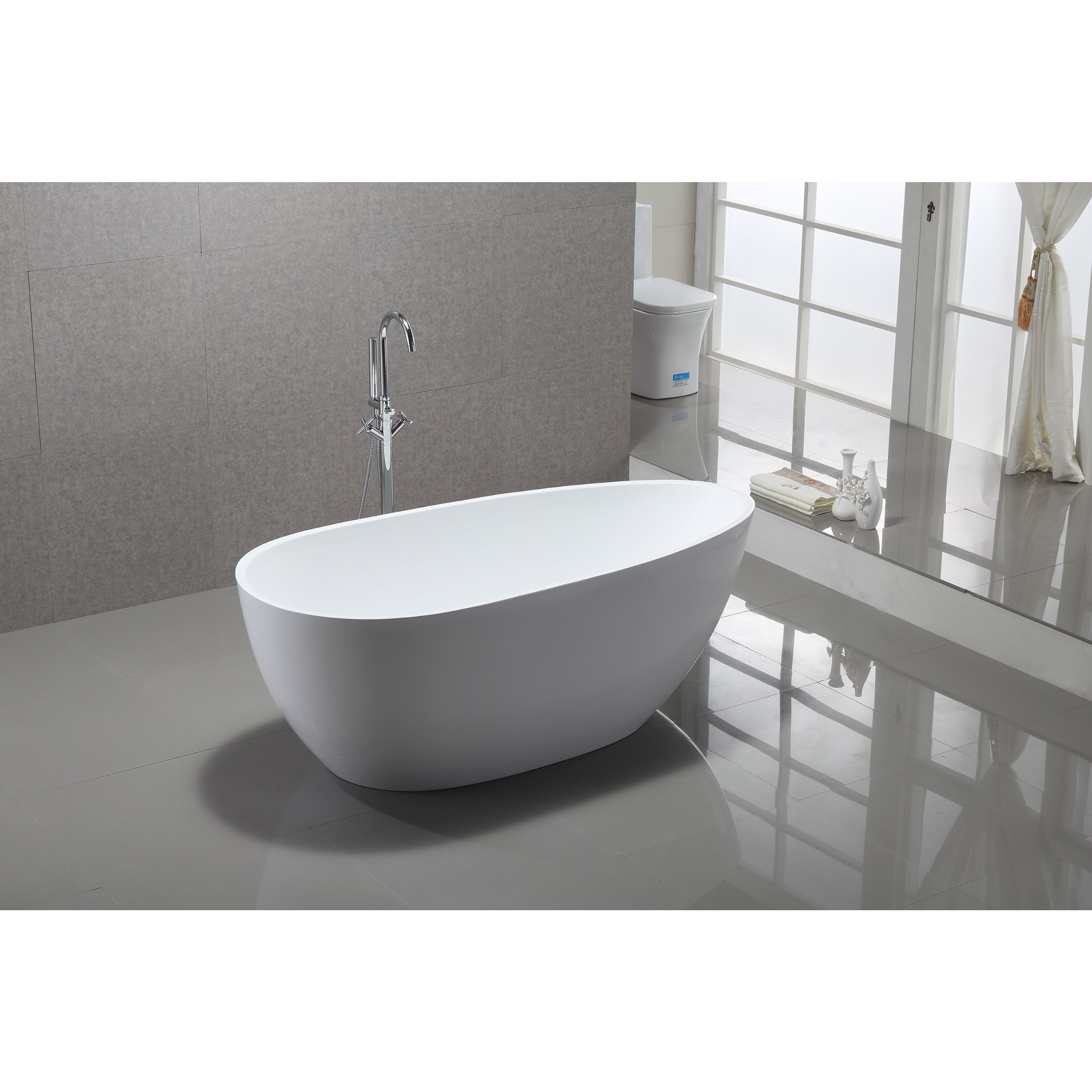 Vanity Art White Acrylic 59 Inch Freestanding Soaking Bathtub