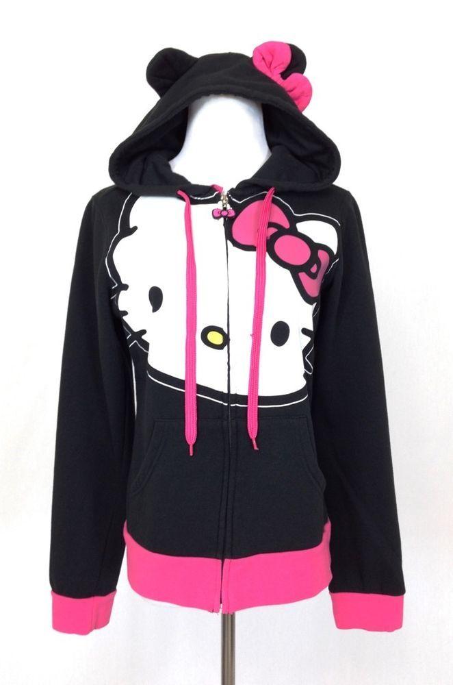 a3302d3c02c Sanrio Hello Kitty Womens L Hoodie Zip Up Sweatshirt Jacket Black Pink Ear  Bow  Sanrio  Hoodie