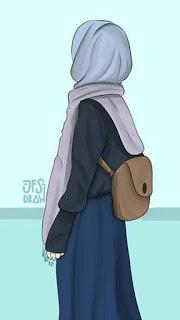 صور بنات كرتون محجبات تحمل شنطة Hijab Cartoon Islamic Girl Anime Muslim