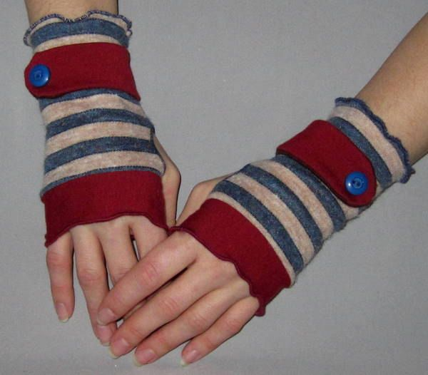 On SALE: Blue and Tan Striped Burgundy Jersey Sweater Knit Wrist Cuffs- Fingerless Gloves - Arm Warmers. $14.00, via Etsy.