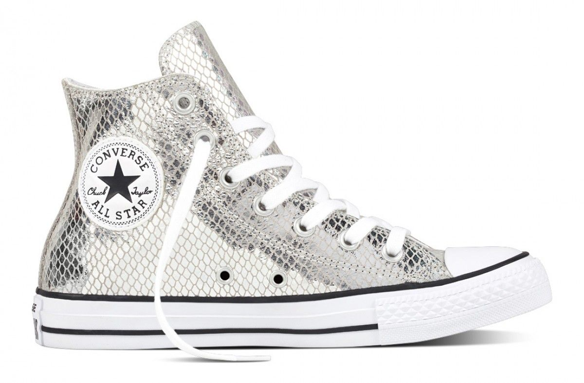 85bec8837dc3 Converse Women s Chuck Taylor All Star Metallic Snake Leather Hi Top Silver  Black White