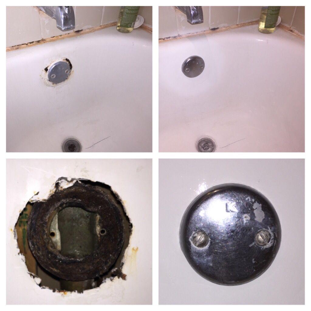 A Beautiful Bathtub Repair From Happy Tubs This Overflow Drain