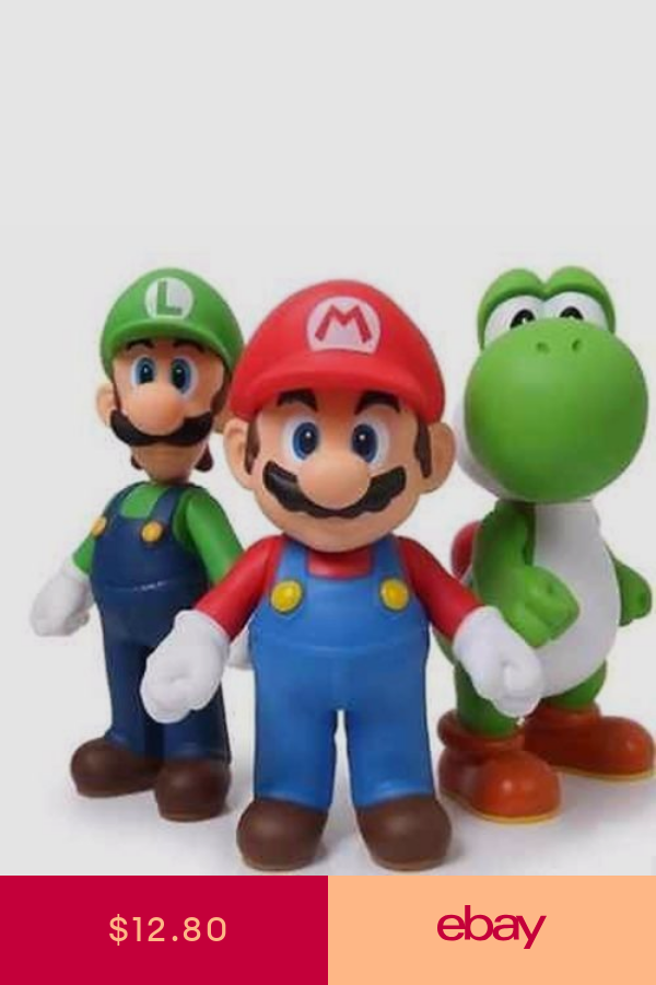 3pcs Lot Super Mario Bros Luigi Mario Yoshi Figures Toy Kids Xmas