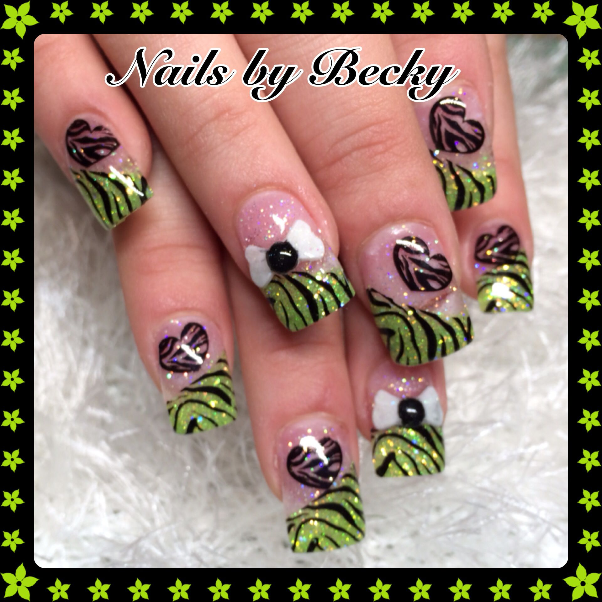 Nails-by-Becky-sparkle-glitter-green-black-zebra-hearts-bows-raised ...
