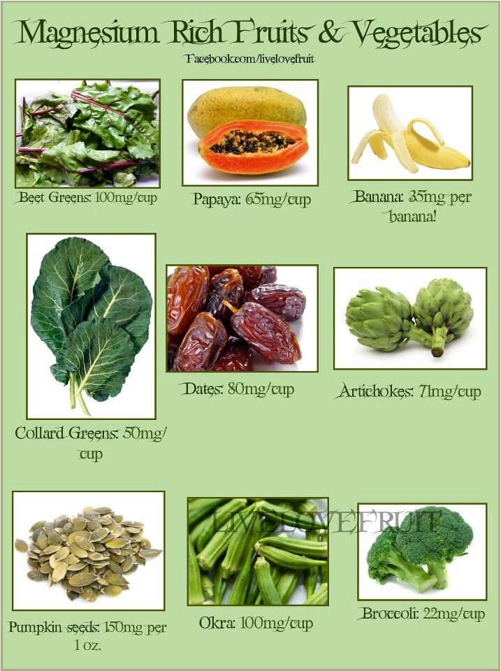 Magnesium rich fruits and veggies Magnesium foods