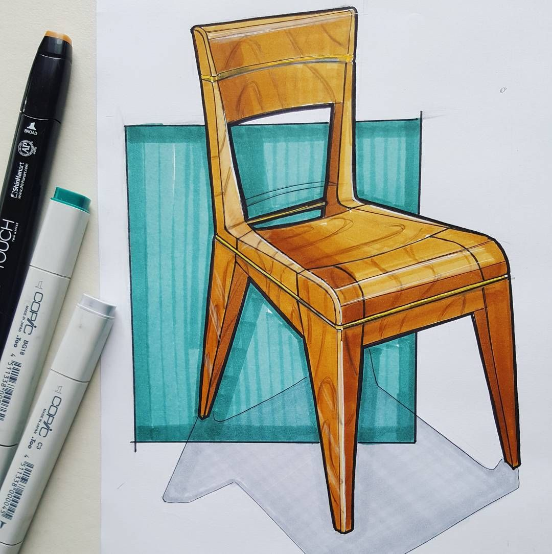 Wooden Chair Drawing ~ Chair furniture wood sketch drawing copic maker