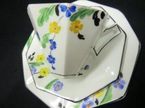 Melba china Art Deco trio hand painted