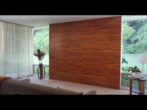Decora una pared con piso laminado youtube brico en - Madera para paredes ...