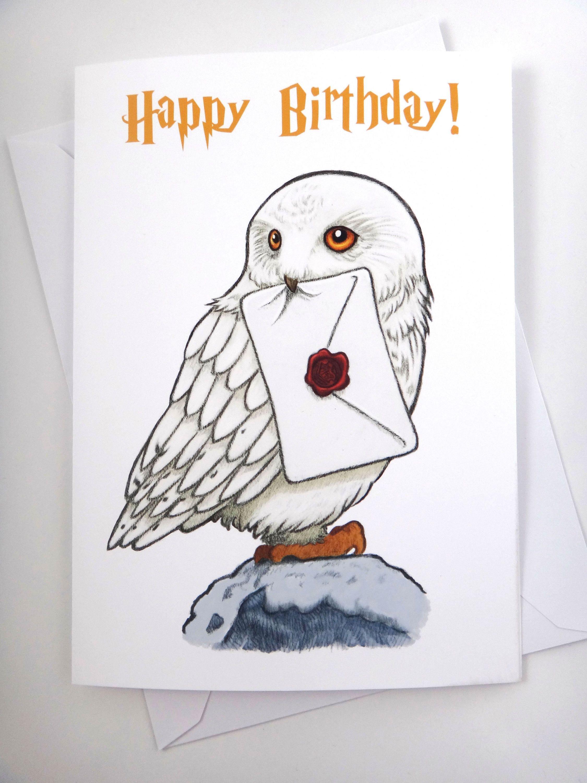 Harry Potter Card Hedwig Card Birthday Card Fun Card Greeting